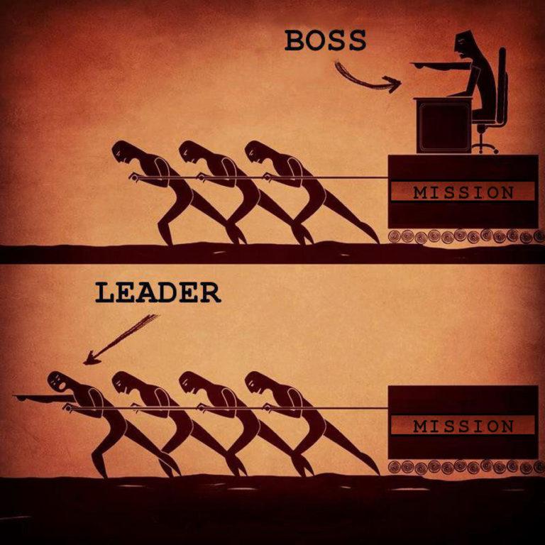 Boss vs leader illustration